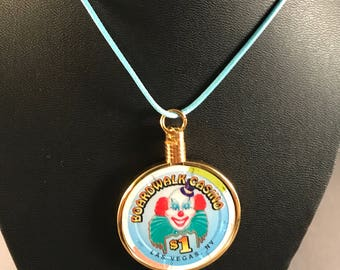 Up-cycled Casino poker chip necklace - Boardwalk Casino.