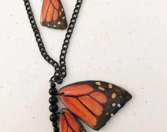 "26.5"" monarch butterfly necklace earring set"