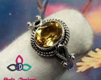 Citrine Gemstone Ring, Citrine Ring, Citrine Jewellery, Citrine Silver Ring, 925 Silver RIng, Unique Ring. Designer Ring, Birthday Gift,