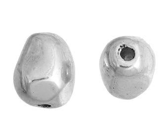 irregular Pearl 11mm x 10mm antiqued silver tone metal