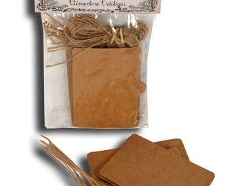 Bag of 6 Rectangle tags in kraft 7.5X5.5cm