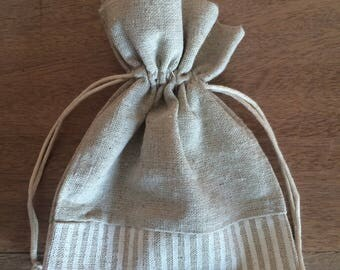 Bag of linen and stripes 12 cm x 17cm
