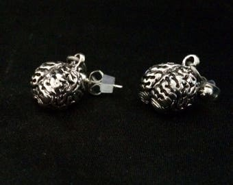 Brains!!! Silver Metal Brain Earrings on Silver Metal Stud Push Back Earrings