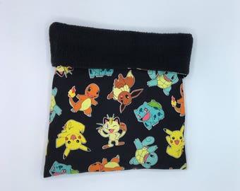 Sleep Sack, Cuddle Sack, Black Pokemon, for Hedgehog, Sugar Glider, Guinea Pig, Rats, and other Small Animals