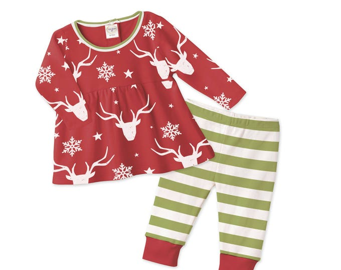 Baby Girl Christmas Outfit, Long Sleeve Top & Pants Red and Ivory, Tesa Babe, Tesababe TL180FZGN0000