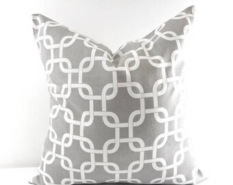 SALE Gray and white pillow cover.18x18. Gray chain link. gray. Designer pillow. Gray cushion cover
