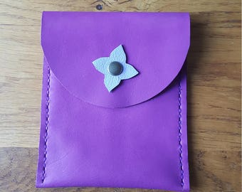 Leather clutch purple Inc for drivers license