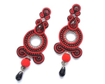 Earrings embroidered braid and beads. Original and colorful jewelry. Waxebo