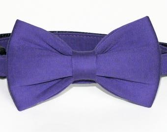 Purple Sateen Dog Collar Bow Tie set, wedding