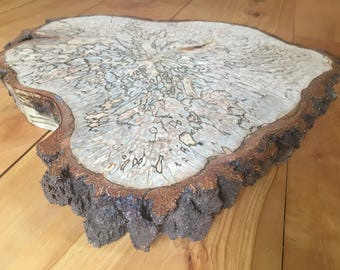 Wood cake stand centerpiece slab with bark