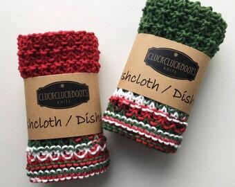 Knitted Holiday Washcloth / Dishcloth Set - Set of 2
