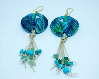Colourful tropical earrings in polymer clay and micro-macrame