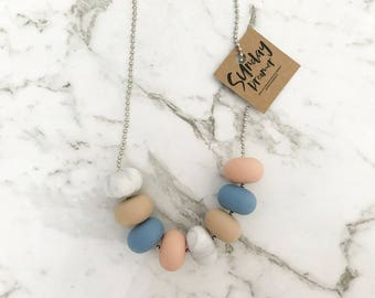 Abacus beaded powder blue + marble necklace