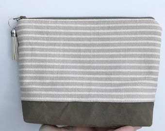 Makeup bag//cosmetic bag//essential oil bag//waxed canvas/striped