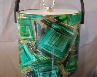 Retro vinyl ice bucket green