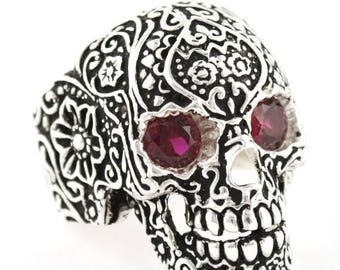 Summer CLEARANCE Sterling Silver 925 Biker Skull Ring Floral Design Red CZ Made in USA
