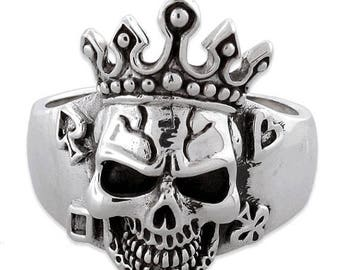 Anniversary SALE Sterling Silver 925 Skull Poker Ring with Crown Made in USA