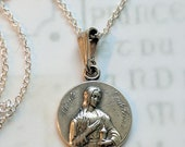 Necklace - Sainte Madeleine 17.5mm - Sterling Silver + 18 inch Sterling Silver Chain