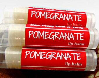 Pomegranate Lip Balm, Stocking Stuffer, Small Christmas Gift