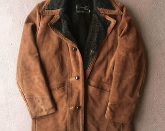 Vtg Suede Western Jacket - Medium Mens - 40 - Sears - Vintage Clothing - Brown Jacket - Long Jacket - 70s Clothing -