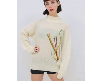 Vintage - 80's - Retro - Abstract - SKI - Applique - Cream - Wool - Knit - Jumper - Sweater - Pullover - AUS 8 10 - XS S