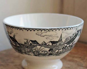 Antique bowl for Coffee made by Boch freres, beginning of 20th century no damage Cafè au lait BOWL black transfert