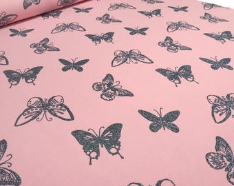 French Terry Sweatshirt/fabric butterflies glitter Butterfly pink anthra