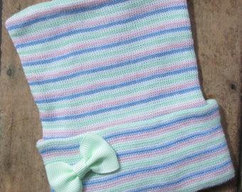 Newborn Hospital Hat, Newborn Beanie, Newborn Hat, Newborn Photo Hat, Newborn Baby Hospital Hat, Bow Hospital Hat, Newborn Keepsake