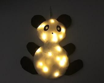 Veilleuse Personnalisable Bébé PANDI PANDA - Coussin lumineux : choix prénom