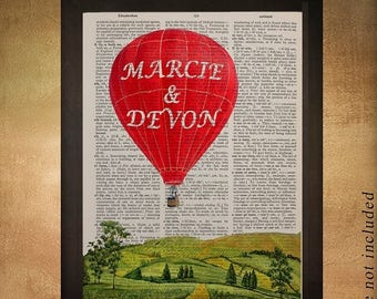 SALE-SHIPS Aug 22- Hot Air Balloon Dictionary Art Personalized Romantic Gift for Her Print Wall Art Gift for Girlfriend Decor da777
