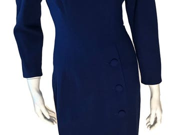 Gillian Wool Royal Blue Sheath Jackie O. Style 1960s Dress - Size 6P - Modern Size XS