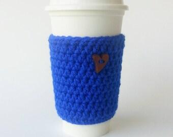 Coffee Cozy - Crochet Coffee Cup Sleeve  - To Go Cup Sleeve - Reusable Coffee Sleeve - Heart Cozy - Blue Cozy