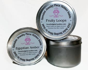 Genuine Jewelry Custom Candle Wood Wick Tin .925 Sterling Silver or better! 100 % Soy Wax ~ Gem Delights Candles