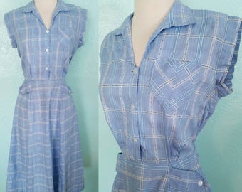 Early 1950's Sleeveless Sky Blue Plaid Summer Day Dress
