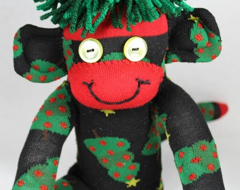 Sock Monkey, Christmas Trees, Black Red Green Yellow, One-of-a-Kind, Handmade Gift, Christmas Gift, CHristmas Decoration, Holiday Gift