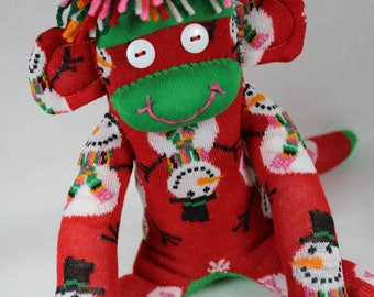 Sock Monkey, Christmas Snowmen, Red Green Pink Orange Black White, Colorful, Christmas Decoration, Gift, Holiday Decoration, One of a Kind