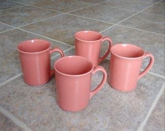 Coral Mugs, Corning Coffee Mugs, Vintage Mug Set, Terra Cotta Mugs, Peach Mugs, Coffee Mugs, Coffee Mug Set, Beach Mugs, Tropical Mugs, Boho
