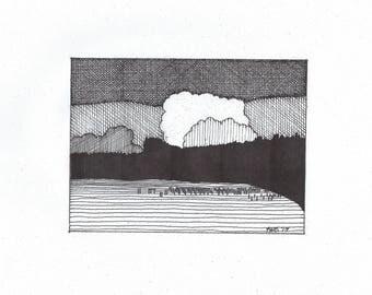 Anacortes Landing at Sunset (b/w print)