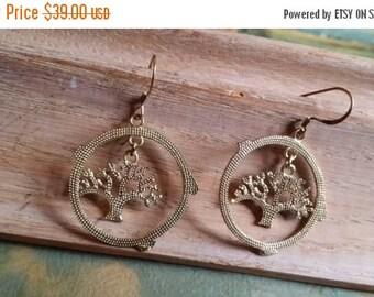 Holiday SALE 85 % OFF Hammered Brass Earrings Disc Coin Earrings Tree Of Life Earrings Dangle Drop Earrings Boho Gypsy Bohemian