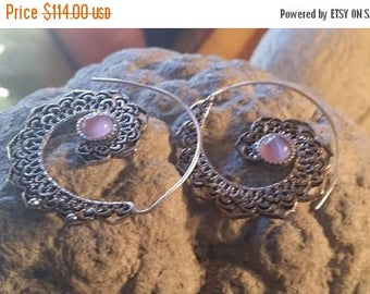 Holiday SALE 85 % OFF Hoops Onyx  Earrings 925 Sterling silver Golden brass  Jewelry TheUnlikelyBandit