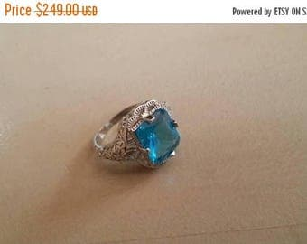 Holiday SALE 85 % OFF London Blue Topaz  ring size 8 Sterling 925 Silver   Ring  Gemstone