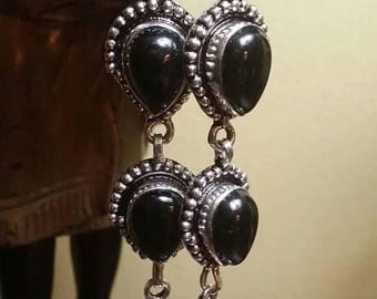 Holiday SALE 85 % OFF Black Onyx Sterling silver Earrings Gemstone  .925