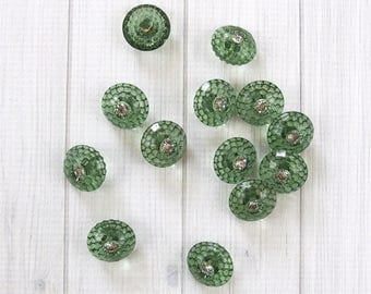 Large Green Buttons with Rhinestone Center, Vintage Buttons, Jacket or Sweater Buttons, Collage, Button Crafts