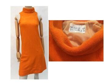 1960s 70s bright orange TWIGGY  no sleeves DRESS // MOD dress // size eu 36- uk 8- us 6