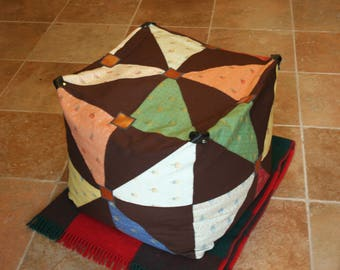 pouf - floor cushion - patchwork fabric upholstery