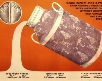 Soviet Constructivist posters / LSPO. Shareholder, help LSPO develop dairy farming... / Leningrad, 1930