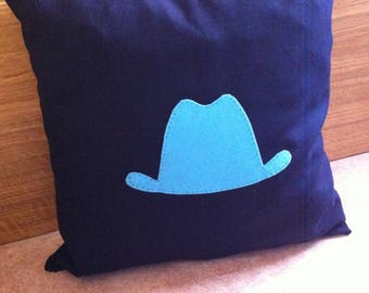 Pillow Navy Blue Hat and blue
