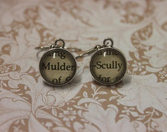Mulder ~ Scully Earrings ~ The X-files ~ The Truth Is Out There ~ I Want To Believe ~