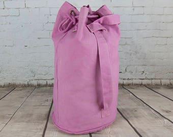 Rucksack duffle bag sailor bag luggage sack hand dyed pale pink cotton canvas bag shopping bag book bag gym bag kit bag