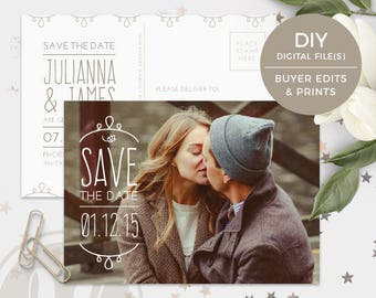 Save the Date Postcard Template - Instant Download, Save the Date Card, Text Overlay, Engagement Announcement, Photoshop Template